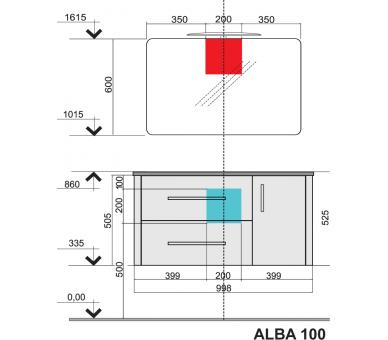 Тумба с умывальником ALBA SB/100 см.