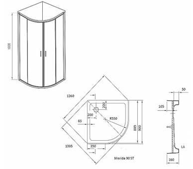 Душевая кабина Ravak X-Point XP1CP4-90 с поддоном и сифоном