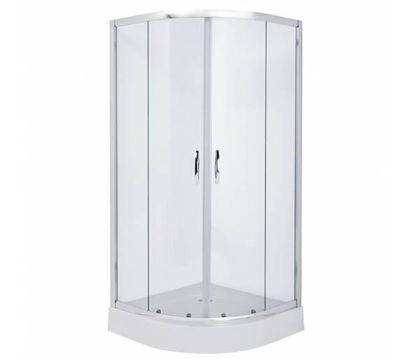 FIESTA душевая кабина 90*90*200 см на мелком поддоне, профиль хром, стекло прозрачное