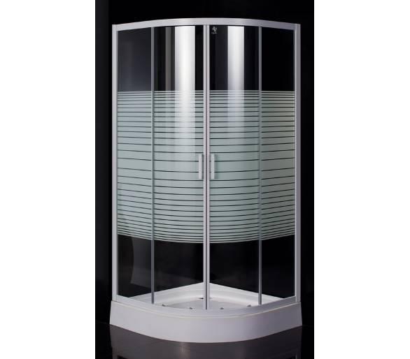 """TISZA (AMUR) душевая кабина 90*90*185 см (стекла+двери), профиль белый, стекло """"Frizеk"""""""