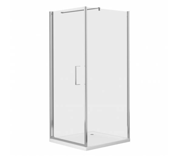 RUDAS душевая кабина квадратная 90*90*205 см, поддон (PUF) 5 см (с сифоном), распашная, стекло прозрачное, левая