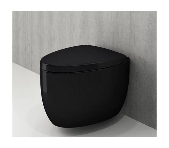 Унитаз подвесной ETNA черный глянец + сид.дюроп.