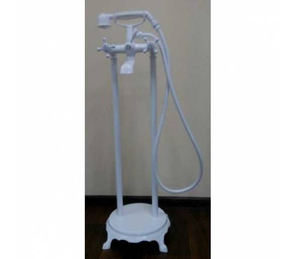 Напольный смеситель для ванны с душевой лейкой Atlantis белый